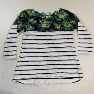 Anthropologie Postmark Floral Striped Blouse Top M